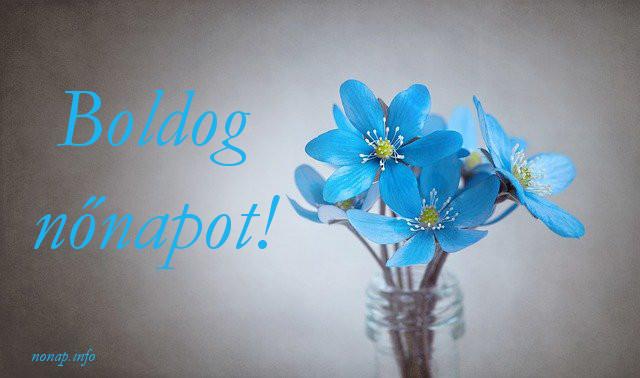 boldog nőnapot kék virág