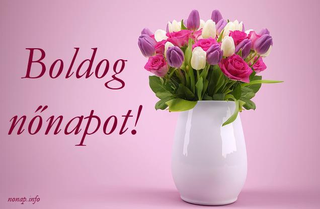 boldog nőnapot, tulipán csokor