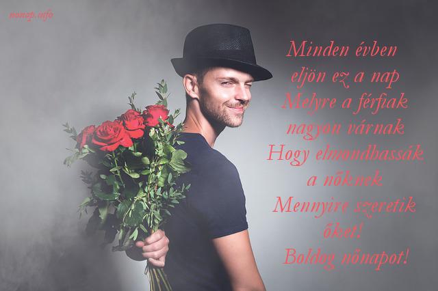 nőnapi köszöntő, férfi virág